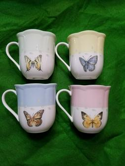 Lenox Meadow Butterfly Mug Set Pastels Tea Cups 4 New In Box
