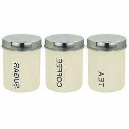 Metal Tea Coffee Sugar Canister Canisters Set of 3 - Cream -