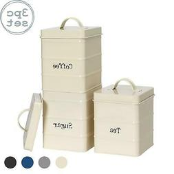 Metal Tea Coffee Sugar Canisters Kitchen Storage Canister Se