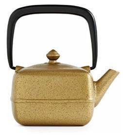 TEAVANA Metallic Gold Black Yoho Cast Iron Square Teapot 12