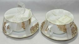 NICOLE MILLER METALLIC GOLD FLORAL JUMBO TEA CUP & SAUCER SE