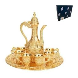 Mini 8 pc Gold Tea Set with 6 Cups,1 Tray and 1Jug, Gold Pla