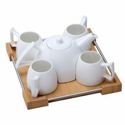 Mini Porcelain Tea Set Ceramic Teapot Coffee Cup Set Bamboo