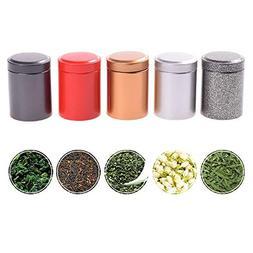 TXIN 5 Colors Mini Tea Canister Cans Storage Airtight Coffee