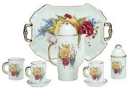 MINIATURE Collectible PEONIES Porcelain Tea Set Teapot Sugar