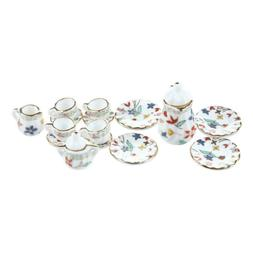 15 Piece Miniature Dollhouse dinnerware porcelain tea set ta
