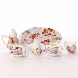 Miniature Elegant Pink Floral Painted Ceramic Tea Set