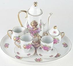 MINIATURE GOLD TRIM CHERUB PORCELAIN TEA SET TEAPOT SUGAR BO