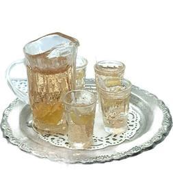 Miniature Iced Tea Set On Platter. 3 Cups With Tea-straws-le