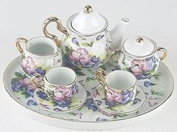 MINIATURE MORNING GLORIES PORCELAIN TEA SET TEAPOT SUGAR BOW