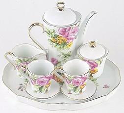 MINIATURE PINK ROSES PORCELAIN TEA SET TEAPOT SUGAR BOWL CRE