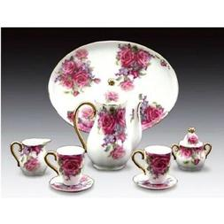 Miniature Porcelain 10-pc Tea Set with Pink Rose Pattern