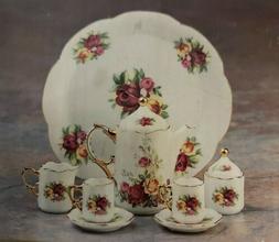 Miniature Porcelain 10 Piece Tea Set with Pink Rose and Blue