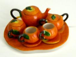 Miniature Porcelain 11 Piece Tea Set with a Pumpkin theme