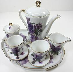 MINIATURE PURPLE ROSES PORCELAIN TEA SET TEAPOT SUGAR BOWL C