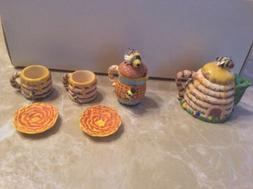 Miniature Resin Tea Set. Honey Bees. So Sweet!