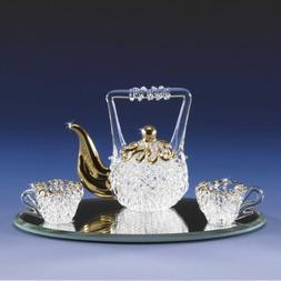 Miniature Spun Glass Tea Pot Set Lacework Spun Crystal 22K G