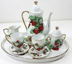 MINIATURE STRAWBERRIES PORCELAIN TEA SET TEAPOT SUGAR BOWL C