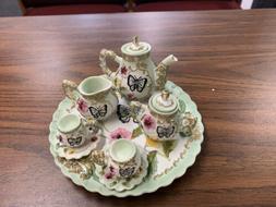 Miniature Tea Set Vintage Dollhouse Ceramic Floral Handmade