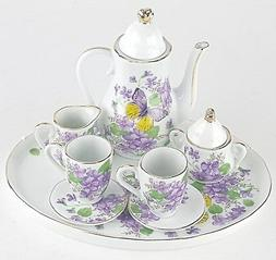 MINIATURE VIOLETS PORCELAIN TEA SET TEAPOT SUGAR BOWL CREAME