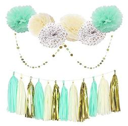Mint Cream Gold and White 20pcs Party Decoration Set by Cher