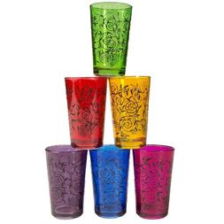 Moroccan Full-Color Tea Glasses, Set of 6