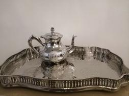 Moroccan royal tray with large teapot tea set silver authent