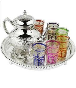 Moroccan Tea Glasses & Teapot Engraved Silver Tray Artisan S