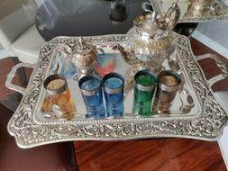 Moroccan Tea Set, 5 Cups Tea Glasses, Teapots, Tea Tray **Br