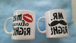 Mr Right Mrs Always Large Coffee Tea Mugs 28 oz Mustache Red