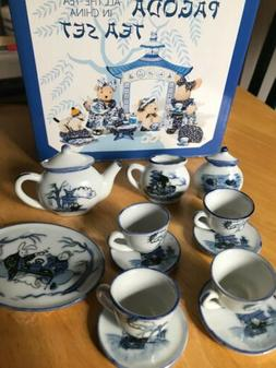 Muffy Blue Pagoda All The Tea In China Tea Set Toys 1997 NAB
