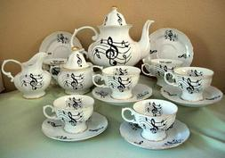 Music Notes Pattern Adult Size 15pc Tea Set Made In USA! ON