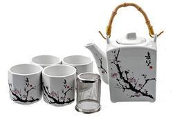 M.V. Trading MVTS-001 Porcelain Tea Set with Sakura Flower D