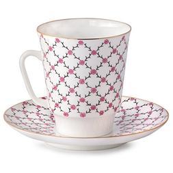Imperial Porcelain - Pink Net porcelain Tea cup w/ Saucer -