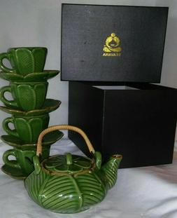 Never used w/box Teavana RARE Green Leaf complete 9pc Tea po