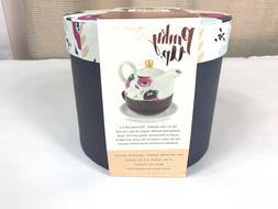 NEW Pinky Up 5063 Addison Tea for One Set Floral Navy Pink P