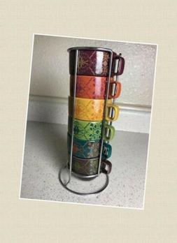 ***NEW World Market 6 Set Stacking Coffee Tea Mugs 8 oz Cups
