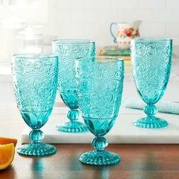 New The Pioneer Woman Amelia Teal Tea Goblet Set of 4 Drinki