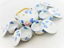 NEW Arita Ware Japanese Pottery Tea Pot & 5 Tea Cup with lid