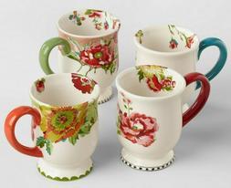 NEW Beautiful Nomad Flower Mugs Set Of 4 Coffee Tea Cocoa Mu
