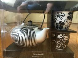 NEW Black White Porcelain Akina Tea Set