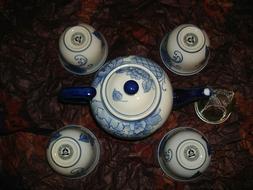 New Teavana Blue Peony 5pc Tea Set Teapot Cups Strainer Gift