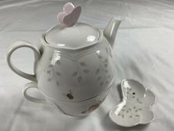 New Lenox Butterfly Meadow Stackable Tea Set Teapot For One