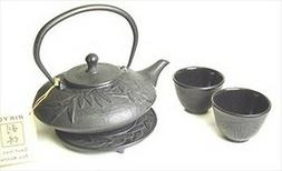 Japanese Cast Iron Tea Set 18oz Teapot Teacups Bamboo Gift S