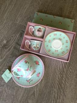 New Pastel Mint & Pink Color Floral Tea Party 3 Cups & 3 sau