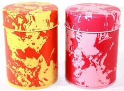 NEW Teavana PINK Splatter Tin-Plated Steel Tea Tin Canister NO TEA