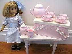 New Pottery Barn Kids Pink Metal Tea Set Picnic Basket Stora