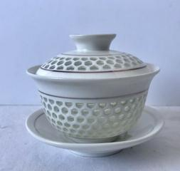 New Porcelain Honeycomb Gaiwan Chinese Gongfu Teacup with Li
