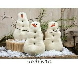 New Primitive Snowman Snowmen Set of 3 Tea Stained Cloth Chr