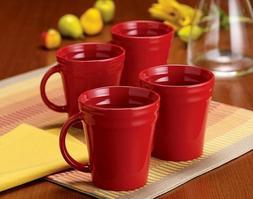 NEW Set of 4 Rachael Ray Double Ridge Red Coffee Tea Cocoa C